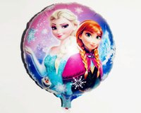 party happy birthday - Cartoon Metallic Happy Birthday Decoration Frozen Princess Queen Anna Round Balloon for Kids Party Supplies Foil Ballon inch