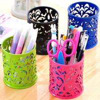 Wholesale 2015 Vogue Hollow Rose Flower Design Cylinder Pen Pencil Holder Organizer Container