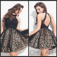 beaded charms patterns - Charming Leopard Homecoming Dresses High Neck A Line Black Tulle Backless With Beading Short Mini Evening Party Prom Gowns