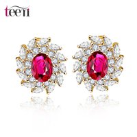 artifical plants - LUOTEEMI18K Champange Gold Stud Earring Ruby Color Cubic Zircon Artifical Diamond Design Women Luxury Bridal Wedding Earrings New