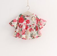 Wholesale 2016 Baby Girl Floral Shirts Spring Summer Flower Printed Trumpet Sleeve A line Children Fashion Sweet Ruffle Dress Kids Clothes