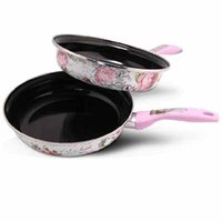 Wholesale Luxury European Style Enamel Coating Fry Pan Heat Insulation Handle High Quality Cookware Food safety Pan Cooking Pot CV3159 dandys