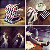 bar slippers - 2015 factory price color men unisex women socks Korean summer classics striped socks Bar socks Pure cotton sock slippers TOPB2934 pair
