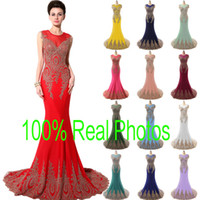 tulle plus size evening dress - Plus Size Real Image Sheer Neck Formal Evening Prom Dresses Lace Appliques Stretch Red Royal Navy Blue Blush Green Wedding Gowns Arabic