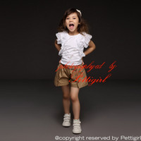 Wholesale Pettigirl New Kids Girls Clothing Sets White Top Khaki Shorts For Girl Summer Wear Cotton Kids Casual Clothes CS30301