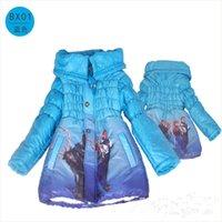 Wholesale 3 color Frozen Elsa Anna down winter coat Kids thick long cotton padded clothes Jacket Coat outwear Frozen pc