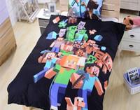 Wholesale 2015 new arrive best price Twin FULL Queen MineCraft D Bedding Sets MineCraft Bedding Duvet Cover Set Cotton Kids Bedding Set