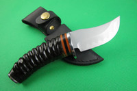 antelope leather - Top quality Sanhe steel hunting knife Rare antelope horn handle HRC with leather sheath artware collection knives