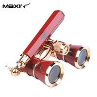 Wholesale Maxin x25 Jumelles Opera Binoculars Glasses Theater Binoculars Coated Lens Red Lady gift Freeshipping order lt no track