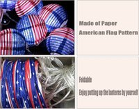 american flag paper - Fashion American flag foldable paper lantern M W sets AC V V white light LED string lights