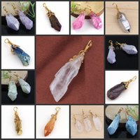 Wholesale natural Charm k Gold mixture Crystal Stone Pendulum Healing Winding Beads Pendant Jewelry