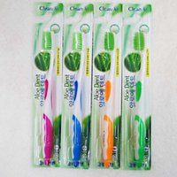 antibacterial toothbrush - Top AAA quality Aloe Dent toothbrush with Double green fur for adult childen toothbrush for Antibacterial cleaning