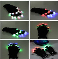 Wholesale Rave Party Favor Flashing Finger Lighting Gloves LED Colorful Rave Gloves Colors Light Show Black color