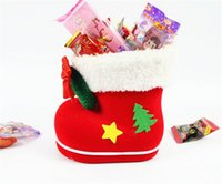 Wholesale Shoe Trees For Boots - New Christmas Tree Decoration Hanging Xmas Bag Christmas Boots Candy Box for Kids Children Party Bags Boys Girls Santa Boot Shoes Stocking
