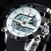 band lcd - Shark Quartz LCD Dual Time Date Day Alarm Display Relojes White Dial Military Silicon Band Analog Outdoor Men Sport Military Watch SH041