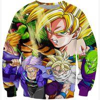 anime jumpers - Classic Anime Dragon Ball Z Warriors Goku Sweatshirt Crewneck Hoodies Harajuku Cartoon D Sweatshirt Pullovers Jumper Outerwear