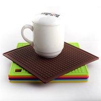 Wholesale New Arrivals European Meal Pads Placemats Heat Resistant Square Mats Coaster Pot Holder Silicone Size cm JA55