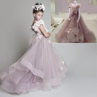 Wholesale HOT New flower girls pageant dress Party Time Perfect Angels little girls gowns Flowering Applique formal wedding party NO