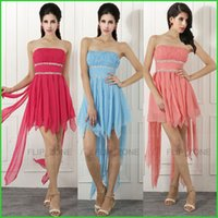 Model Pictures sky blue wedding dress - Cheap Summer Short Coral Bridesmaid Dresses for Beach Wedding with Strapless Chiffon Beaded Sky Blue Purple Yellow Bridal Gowns SD44