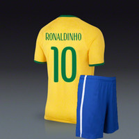 Wholesale Ronaldinho Brazil world cup jerseys home yellow soccer uniforms football kit include jersey and short