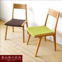 armless dining chair - Nordic furniture simple Japanese style oak solid wood dining chair leisure chair armless chair