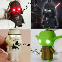 Wholesale New Star Wars LED Lighting Soundly Keychain Star Wars the Force Awakens Master Yoda Darth Vader Stormtrooper Key Chain Pendant Flashlight