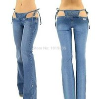 Wholesale Women Bikini Jeans Trousers Pants Denim Ultra Low Rise Flared Sexy Blue Fashion