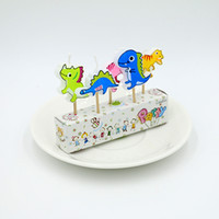 animal cake designs - Free shippment new design High quality children s birthday candle cartoon little dinosaur Party cake decorated Western party in pvc bag