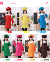 Wholesale Children Apron Aprons Cooking Aprons Black Aprons Pockets Fashion Cute Kid Children Kitchen Baking Painting Apron Baby Art Cooking Craft New