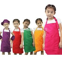 Wholesale 5pcs set Adjustable Plain Apron Front Pocket Children Waiter Chefs Kitchen Cook Craft Bib