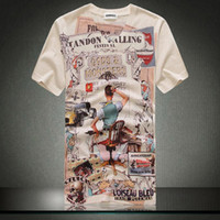 Cheap 2015 Time-limited Direct Selling Sailor Collar Silk Streetwear Short Letter Tshirt Sketch 3d Mens T-shirt