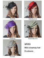 Tiaras&Crowns sinamay hat - New design fashion elegant Sinamay hat fascinator for party church colors red black purple aqua