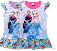 Wholesale Frozen Elsa Anna Girls Short Dresses Baby Kids Cotton Flower Dresses Kids Summer Clothes COLOR
