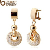 Wholesale 2015 New Arrival Luxury k Rose Gold Drop Earrings Champagne Wire Zircon Crystal Female Fashion Jewelry JSE019