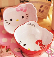 Wholesale Cute Hello Kitty Bowl Cartoon Children Tableware Strong Anti shock Pink Red