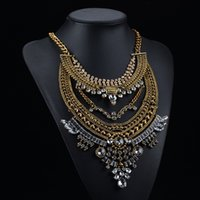stainless steel collar - Bohemian Necklaces Vintage Colar Collier Tassel Choker Collar Multi Layer Necklace for Women Gipsy Style Crystal
