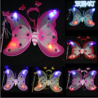 Wholesale Mulitcolor kid girls wings with light costume fairy butterfly wing set wand and headband colors assorted LJJA2097 set
