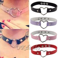 Wholesale 1 Women Lady Favorite Punk Goth Harajuku Grunge Leather Rivet Heart Collar Choker Funky Torques Necklace Jewelry