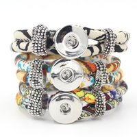 EURO and US Style handmade gifts - 3 Colors New Classic Noosa Chunks Snap Bracelets Jewelry Trendy Snap Button Bracelet Handmade Fabric Snap Bracelets For Snap Buttons