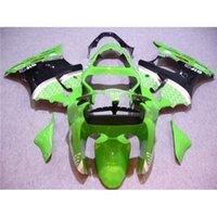 Montagem Kawasaki Ninja Fairing Kit ZX6R Ano 2000 2001 2002 00 01 02 Verde Black Moto Cowling Glossy Moto Peças de corpo