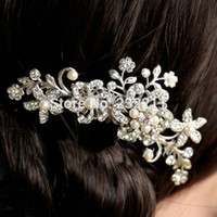 Wholesale Bridal Wedding Flower Crystal Rhinestone Hair Clip Comb Pin Diamante Silver P4PM