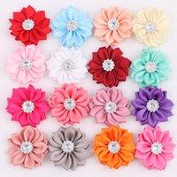 Wholesale Fabric Flower For Headbands Crystal Shank Satin Flowers DIY Hair Accessories