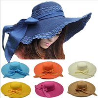 Wholesale Fashion Summer Women Bowknot Straw Sun Hat Wide Brim Bow Candy Color Floppy Foldable Beach Hat Headwear Caps Chapeu Floppy