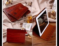 Wholesale BRAND Classic Vintage Style Flip case for apple ipad air Stand Leather Case For ipad Magnet Case screen protectors