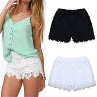 Wholesale 2014New Hot Fashion Black White Flower Crochet Lace Shorts Women Elastic Waist Shorts for Women Summer Women Clothes
