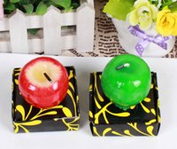 baby shower fruit - 10pcs Red Green Artificial Apple Candle Wedding Baby Shower Birthday Souvenirs Gifts Favor Packaged with PVC Box