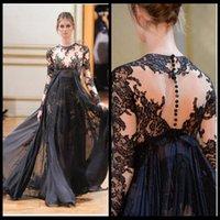 Cheap Gorgeous 2015 Jewel Neck Black Lace Applique Chiffon Zuhair Murad Long Evening Dresses