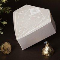 chocolate diamonds - White Silvery Diamond Heart Shaped Design Chocolate Gifts Candy Favor Boxes for Wedding Party