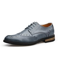 Wholesale 2015 oxford shoes genuine leather men dress shoes lace up male flat casual wedding shoes office business British style brand
