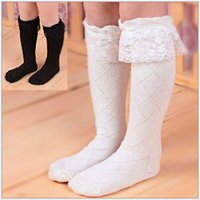 Wholesale Children Socks Girl Lace Princess Socks Kids Solid High Socks Girl Plaid Cotton Socks Kids Clothing A11431